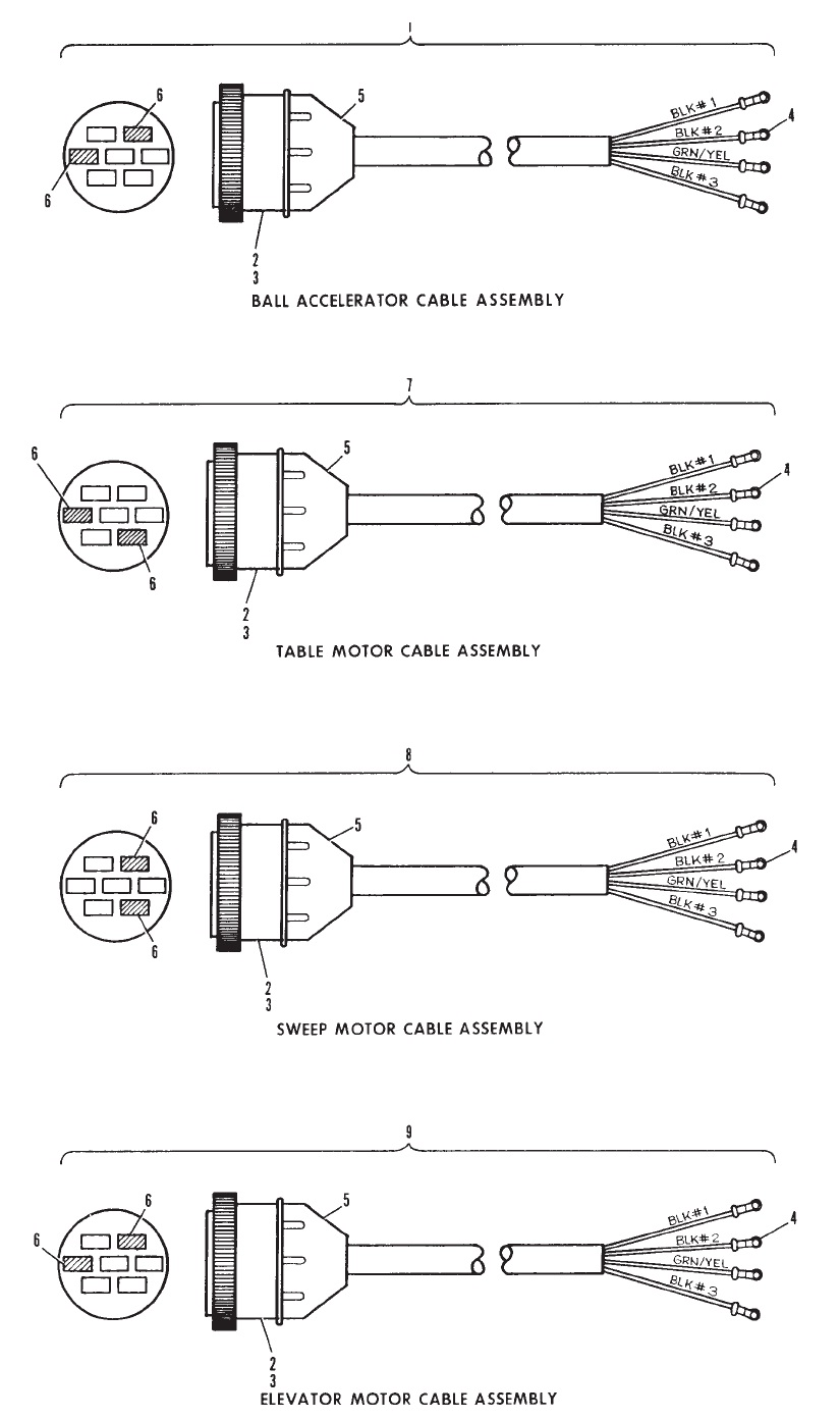 Ball Accelerator, Table, Sweep and Elevator Motor Cable Assemblies - Universal Voltage Silver Box