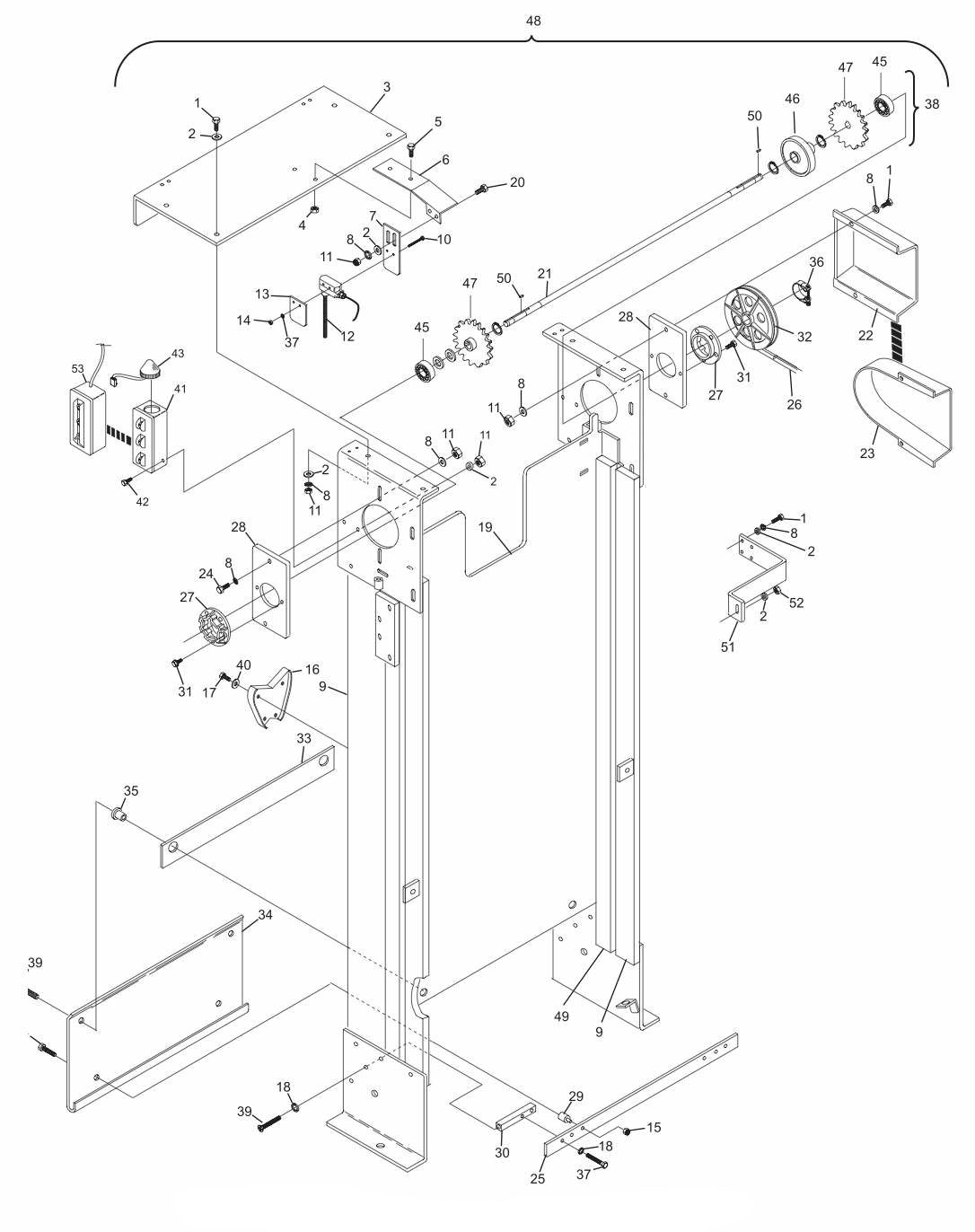 Elevator Assembly - Round Frame Hole Short Pit Machines Series 43 and Above