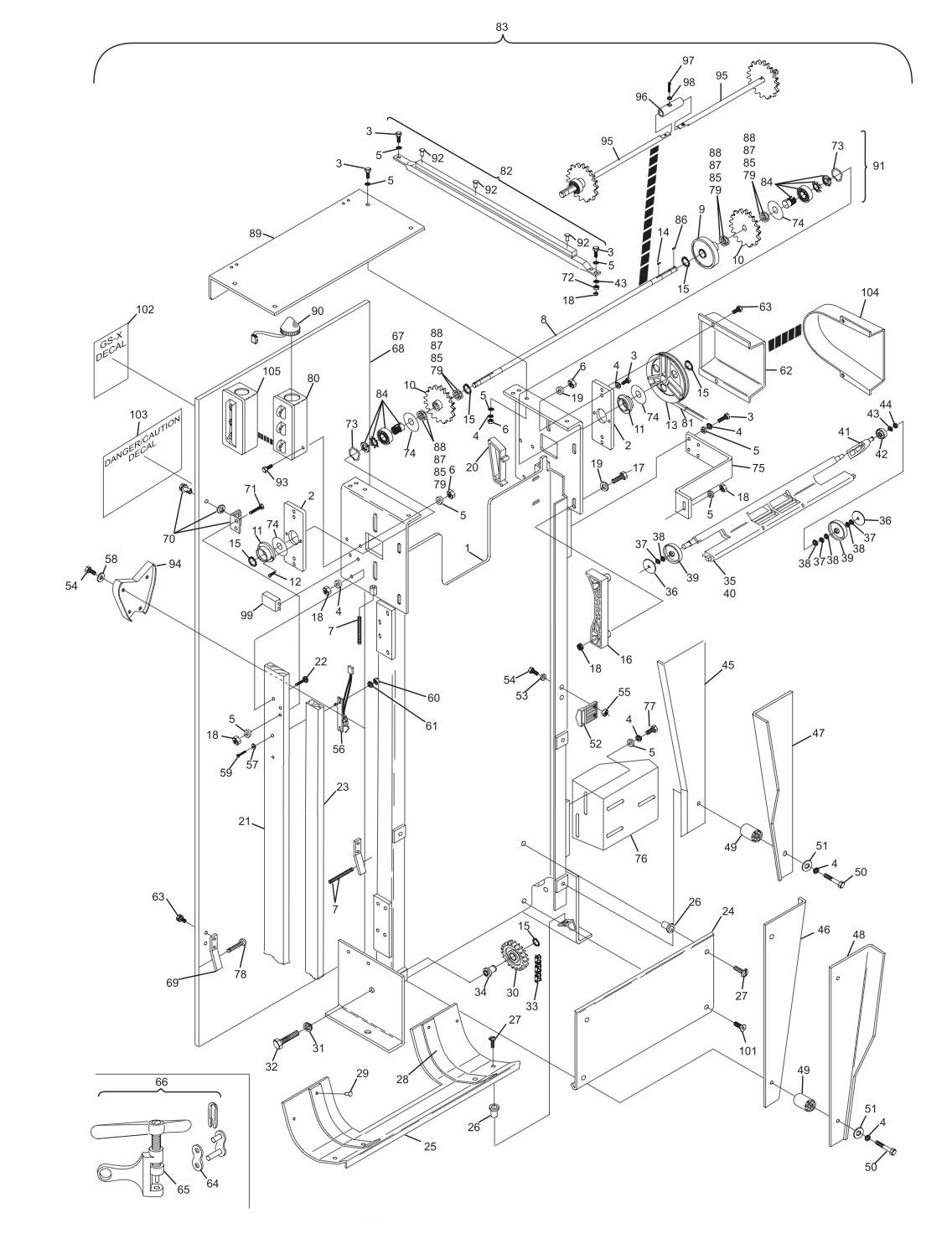Elevator Assembly - Square Frame Hole Short Pit Machines Series 43 and Above