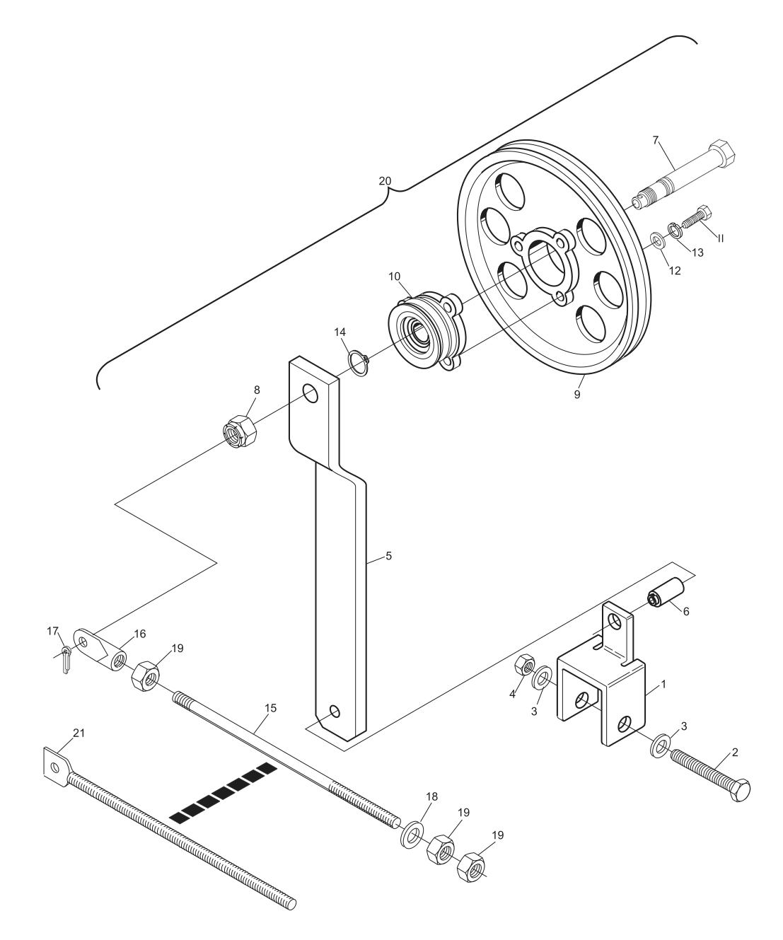 Elevator Belt Tensioner Assembly Short Pit Machines Series 43 and Above