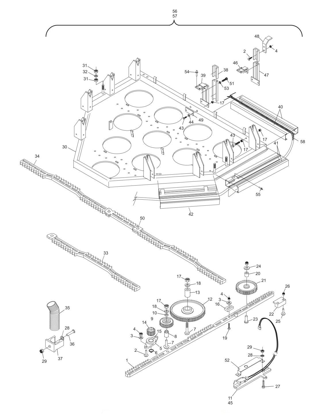 GS-10 - GS-98 Setting Table and Gears