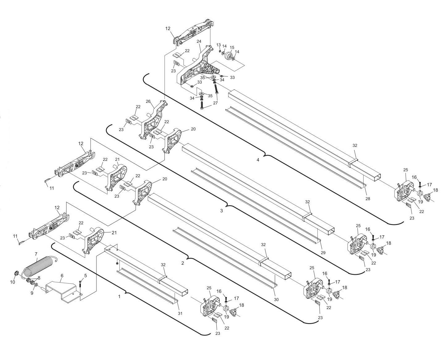 GS-X/CPO Setting Table Swing Shafts