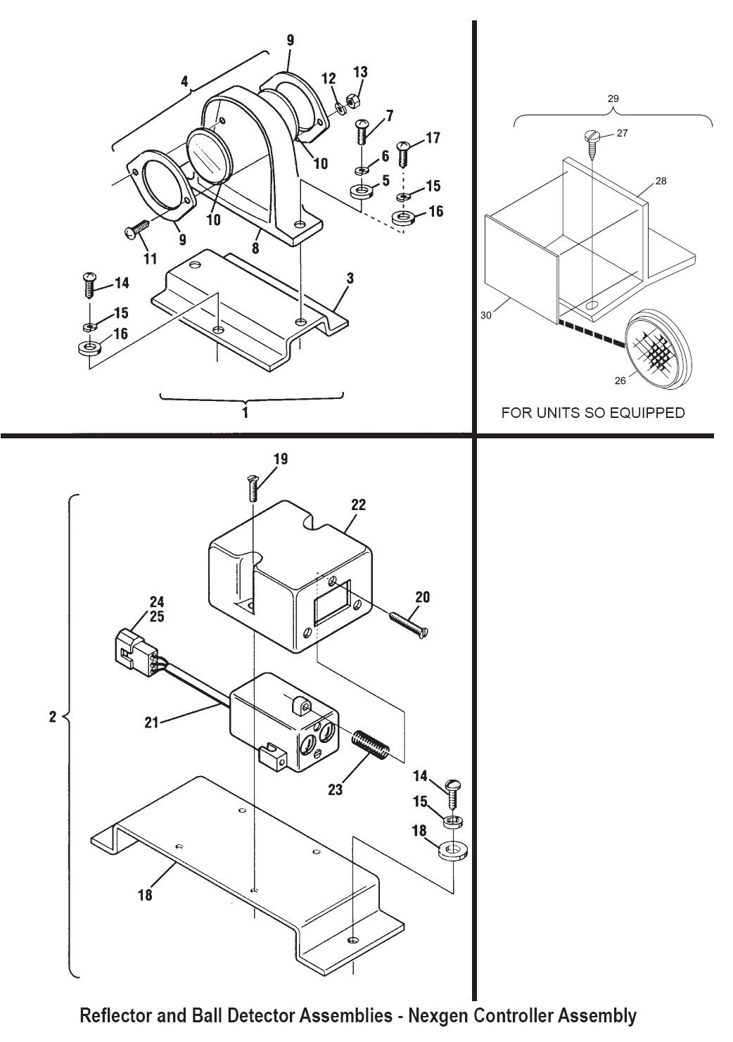 Reflector and Ball Detector Assemblies - Nexgen Controller Assembly