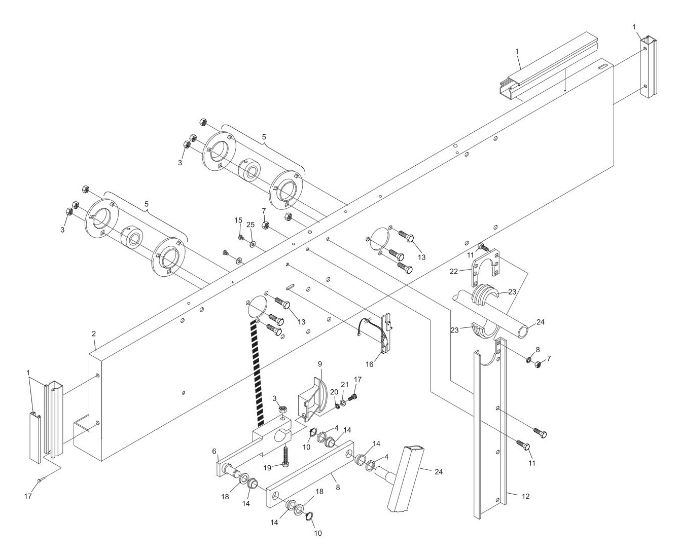 Right Drive Frame Assembly-Machine Series 443 and Above