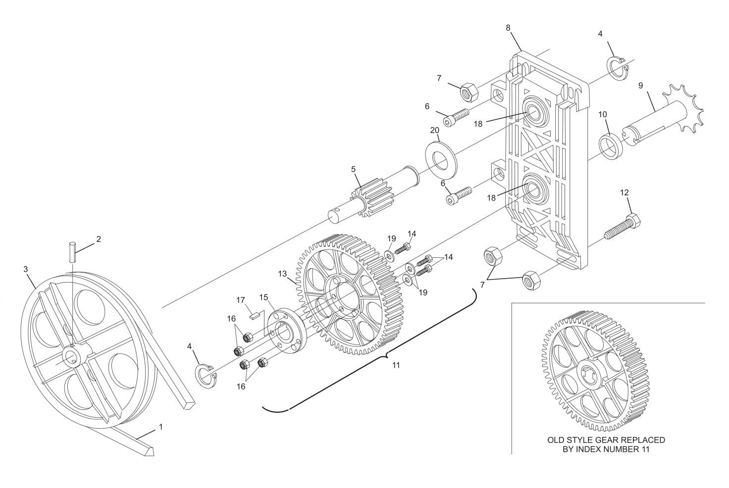 Table Gear, Sweep Gear and Pulley Drive Assembly