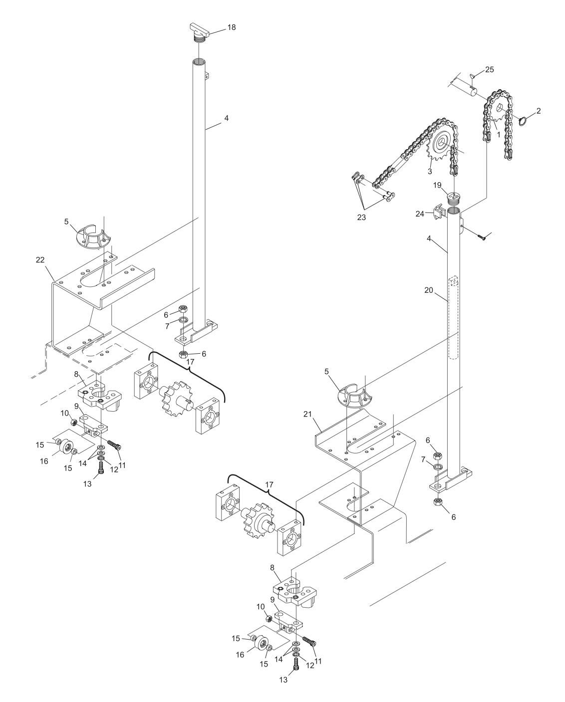 Table Rack and Roller Assembly (Machine Series 443 and Above)