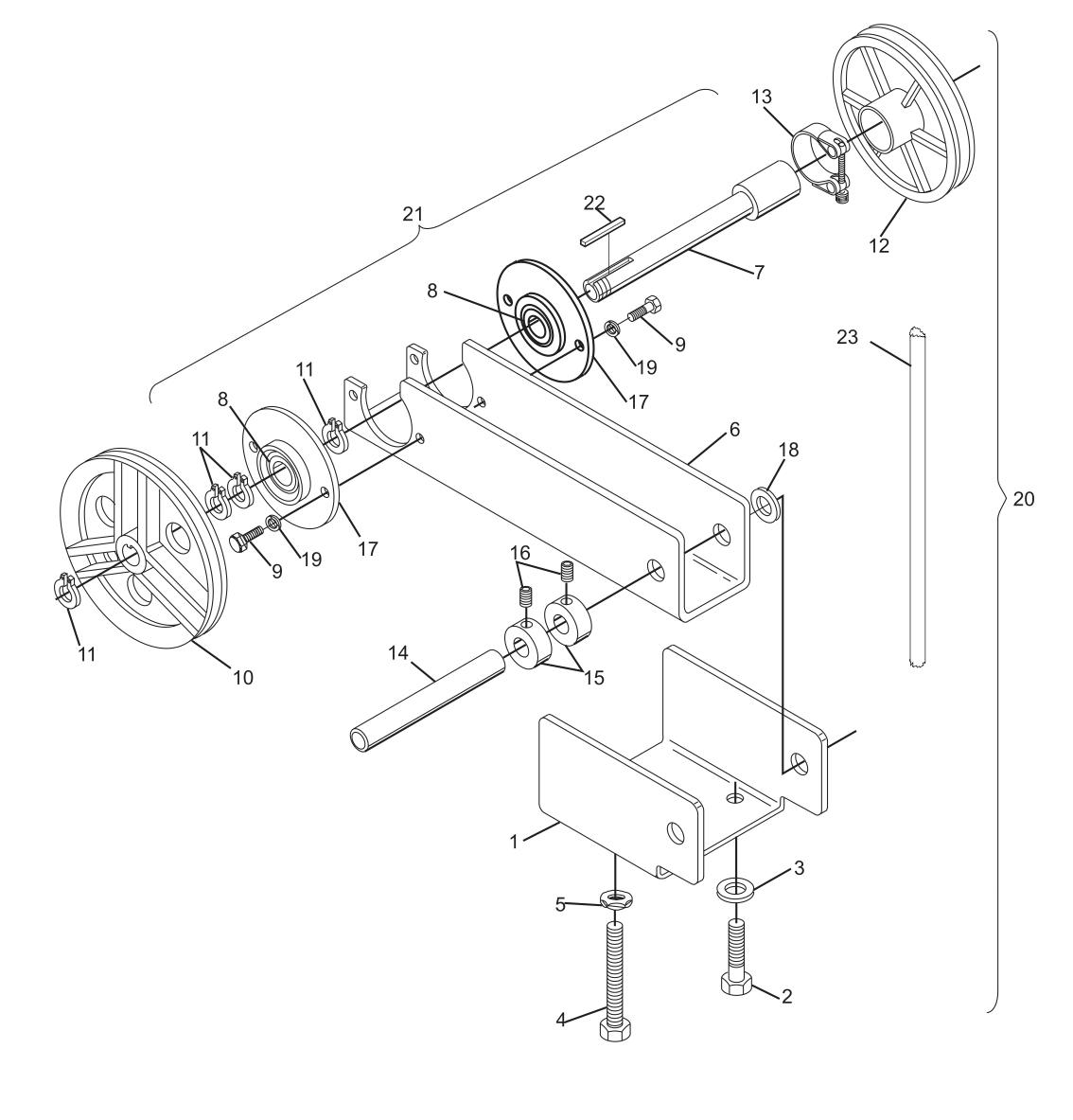 Transport Band Belt Tensioner Assembly - Left Machine Short Pit Machines Series 43 and Above
